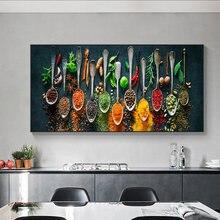 Картина на холсте для кухни различные приправы скандинавские