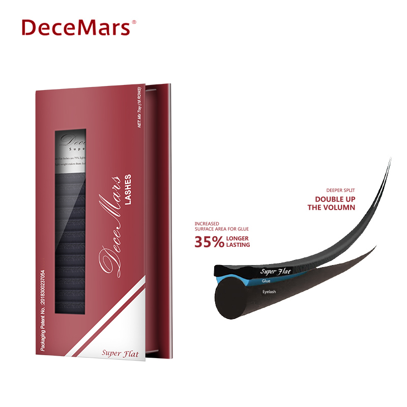 DeceMars Individual Flat Lashes False Eyelash Extension Ellipse Eyelashes Fake Eye Lash Natural Matte Split-tips Eyelashes