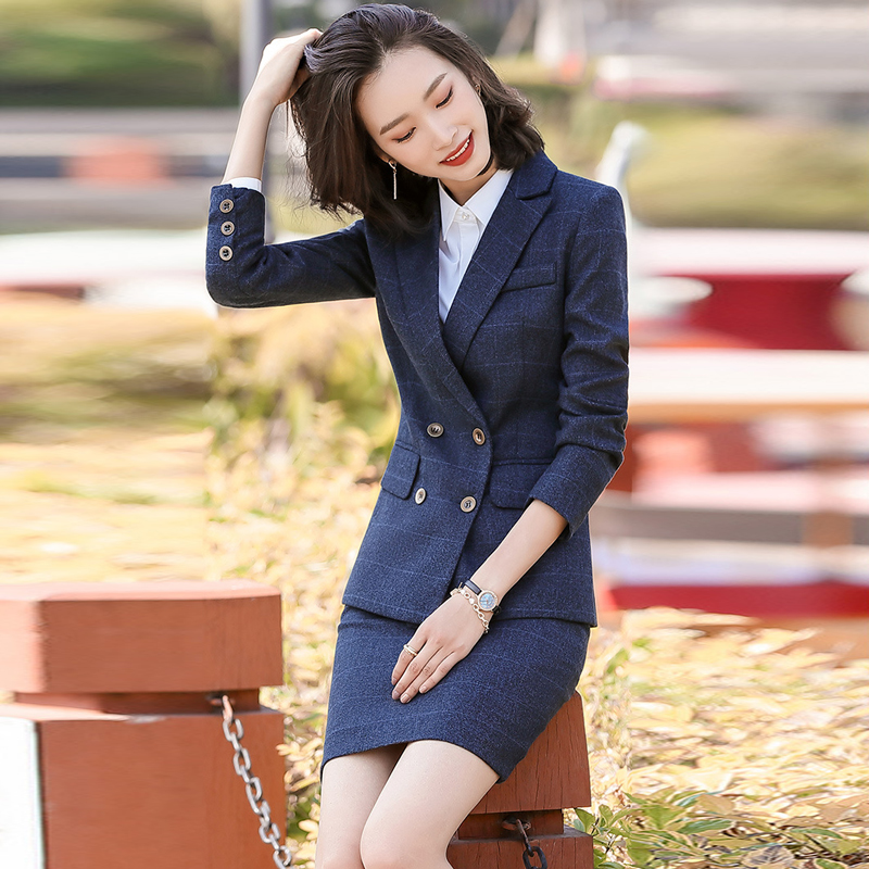 2020 New Spring And Autumn Women's Suit Skirt High Quality Checked Professional Ladies Blazer Elegant Trousers Business Attire