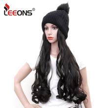 Leeons Winter Knitted Beanies Hats With Synthetic Hair Extension Long Wave Wigs Natural Fake Hair Wigs For Women Girls Headdress(China)