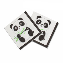 20pcs/pack Cartoon Panda Theme party paper napkin kids happy birthday party decor baby shower Party paper towel(China)