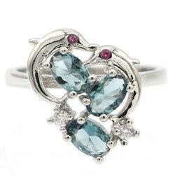 17x16 мм Романтический дельфин, Лондонский синий топаз, турмалин, белый кубический циркон, подарок для женщин, серебряные кольца