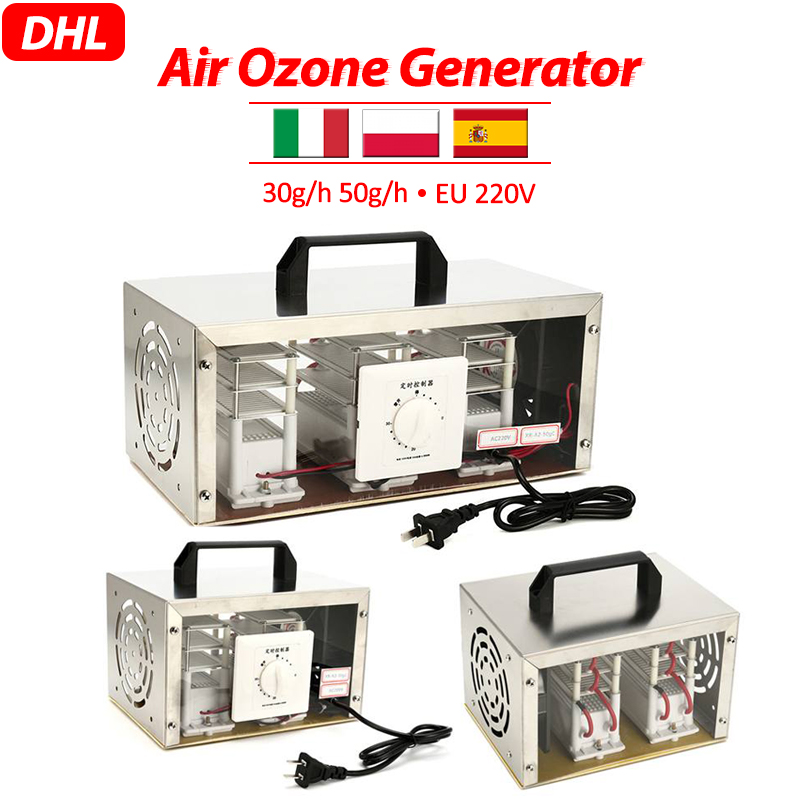 EU 220V 30g/h 50g/h Air Ozone Generator Air Purifier Sterilizer Ozonator Portable Ozonizer Cleaner Sterilizer With Timing Switch