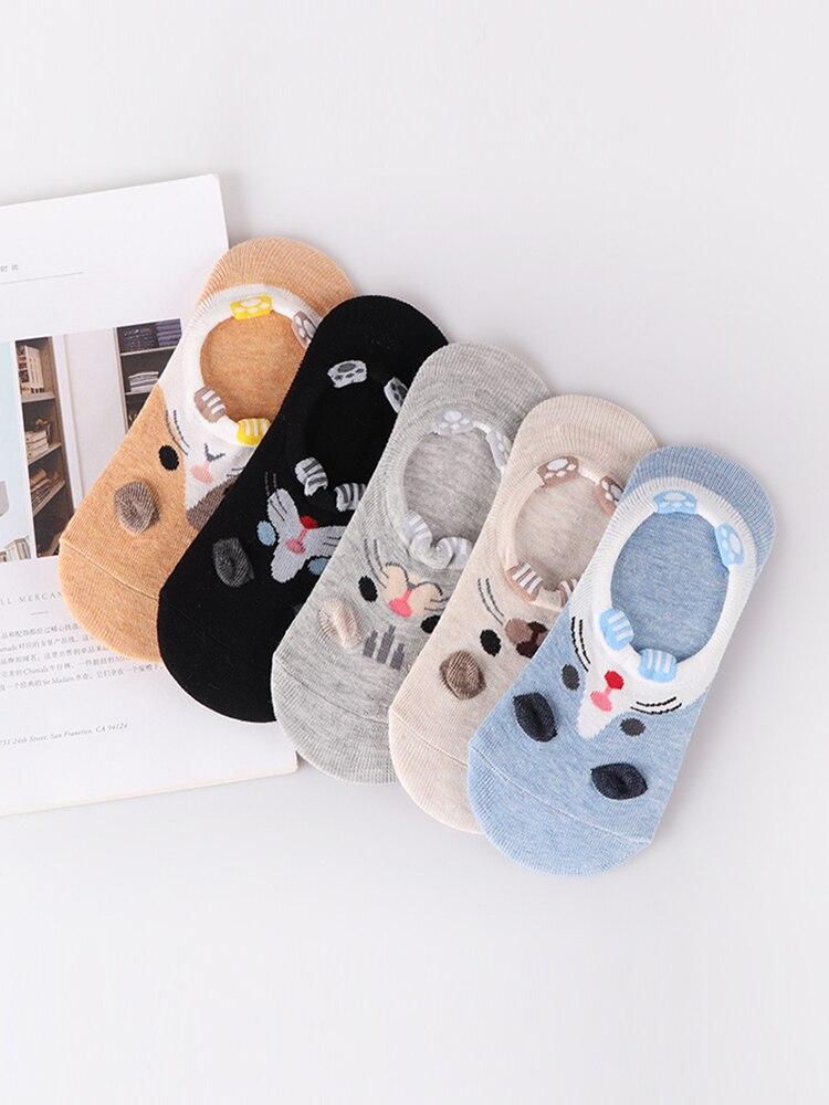 Harajuku Ankle-Sock Happy-Sox Cat Funny Low-Cut Rabbit Korean Bear 28-Style Women Summer