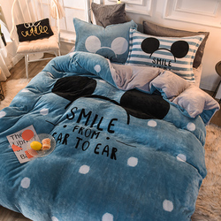 Cartoon Thick Coral Velvet Solid Bedding Set Winter Warm Flannel Duvet Cover Bed Flat Sheet Pillowcases 4PCS Bedding King