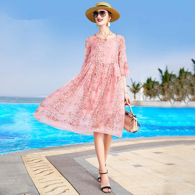 ZUOMAN New Spring Plus Size 4xl Dress Summer Female Silk Dress Female Embroidery Long Vestidos Robes Plus 2