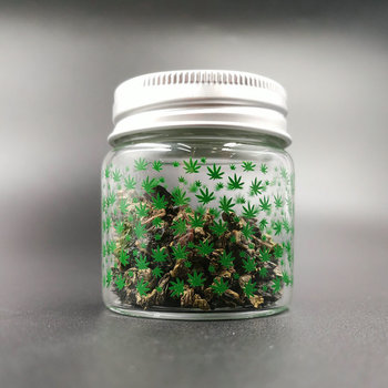 Weed Printed Glass Small Bottle Sealed Small Jar with Lid 1pcs weed tobacco storage bottle jar glass sealed small jar with lid 1pcs