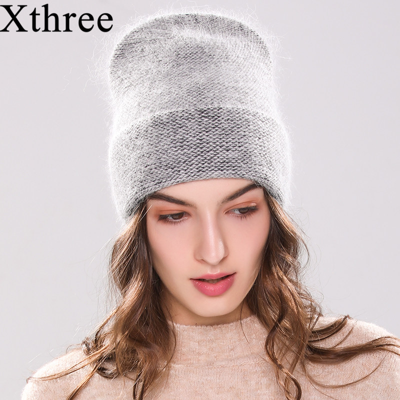 Xthree new women's hat winter knitted hat Angola Rabbit fur   beanie   Bonnet girl 's hat fall female cap keep warm fashion cap