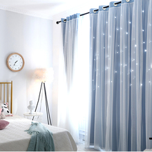 CDIY  Star Thermal Insulated Blackout Curtains For Living Room Bedroom Modern Window Curtains Drapes Blinds Cloth Curtains Door norne hollow star thermal insulated blackout curtains for living room bedroom window curtain blinds stitched with white voile