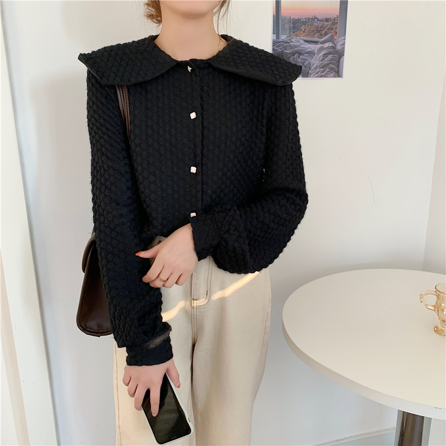 H923304b4b6e84bbf96fda7ece6285681u - Spring / Autumn Big Lapel Long Sleeves French Lace Buttons Blouse