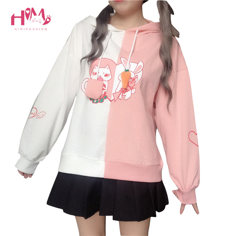 2019 Kawaii Bunny Ear Women Hoodie Cute Rabbit Cat Lovely Sweatshirt Harajuku Soft Girls Anime Pink Pullover Tracksuit Outerwear