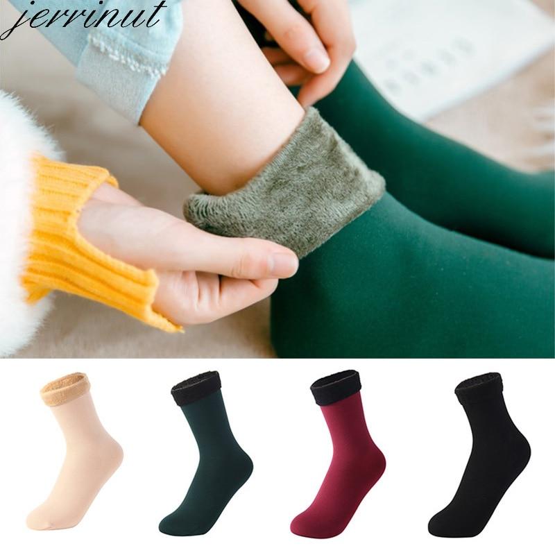 Women Winter Warm Socks Thicken Thermal Wool Cashmere Snow Socks Unisex Solid Color Soft Velvet Boots Floor Sleeping Socks 1Pair