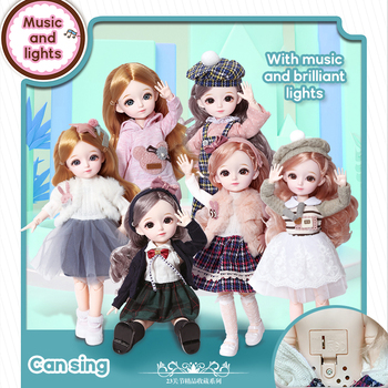 New 1/6 12 Inch 31cm Bjd Doll 23 Joints Long Wig Plastic Toys Musical Doll Girls Children's Favorite Fashion Birthday Presents 1