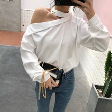 2019 New Arrival Skew Collor Off Shoulder Shirts Slim Casual Summer Long Sleeve Sexy Blusas