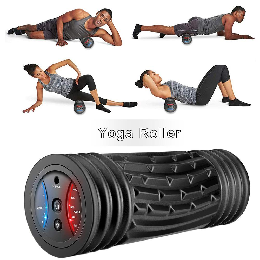 Electric Vibration Massage Yoga Foam Roller Rechargeable Backrest Leg Adjustment Massager Yoga Fitness Electric Massage Stick