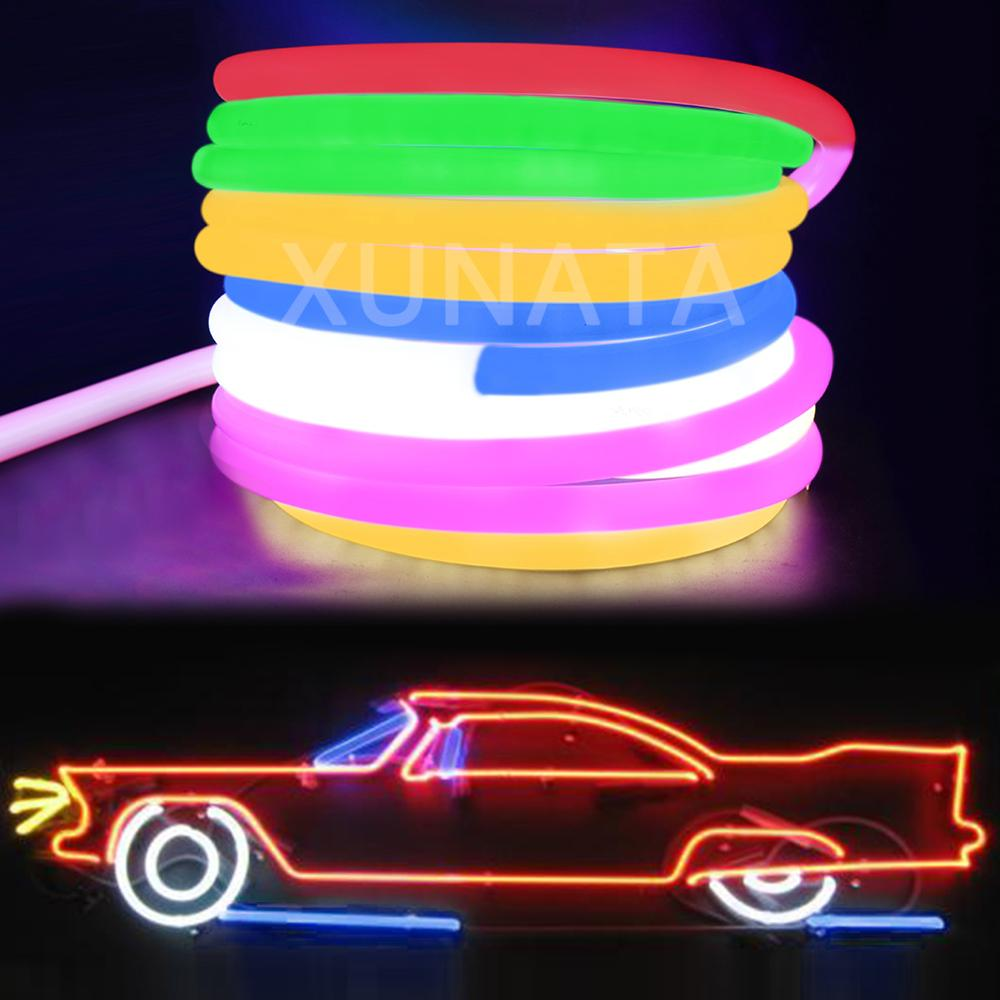 360 Round Tube LED Neon Light Rope 220V 2835 120LEDs/m Flexible Neon Strip 1m 5m 20m 50m Outdoor Glow LED Lamp With EU Plug