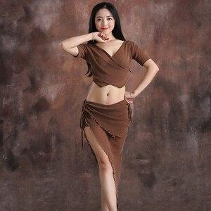 Image 5 - Conjunto de danza del vientre de hilo para mujer, top de manga corta con cuello de pico profundo + falda, 2 uds., traje de danza del vientre, conjunto de ejercicio para mujer, 4 colores M L
