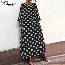 Women Summer Long Maxi Dress Vintage Leopard Print 2019 Celmia Female Casual O Neck 3/4 Sleeve Loose Party Vestidos S-5XL