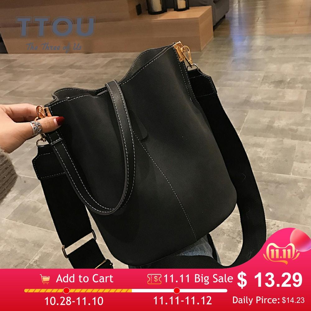 Brand Design Women Bucket PU Leather Shoulder Bag Large Capacity Lady Crossbody Bags Wide Strap Female Solid Color Totes Handbag