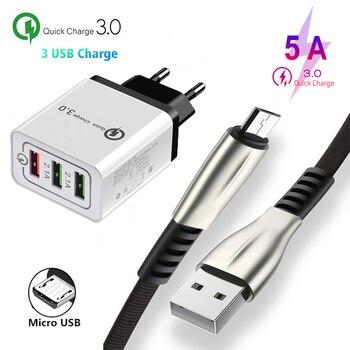 Cable de datos Micro USB tipo c para Samsung S7 S6 edge Note 3 4 5 8 9 10 Oppo A5 A9 2020 A7 Reno A 3 puertos QC 3,0 adaptador de carga rápida