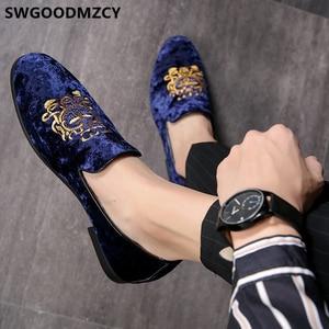 Image 4 - 정장 구두 남성 클래식 이탈리아 브랜드 남성 파티 신발 Coiffeur 자수 남성 정장 구두 로퍼 Sepatu Slip On Pria 48 Bona