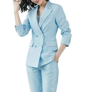 Image 3 - Zarif uzun bayanlar blazer düğmeleri ile kadınlar katı ceket yüksek kaliteli dış giyim ceket siyah pembe beyaz, mavi şampanya