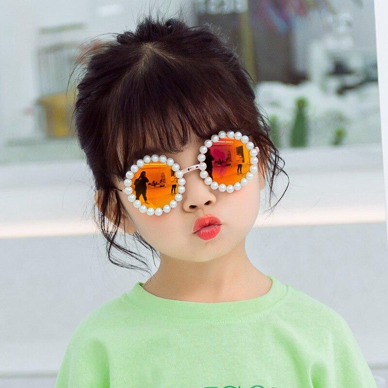 Handmade Pearl Round Kids Children Sunglasses Vintage Boys Girls Metal Frame Sun Glasses UV400 Cute Baby Eyeglasses Gafas De Sol