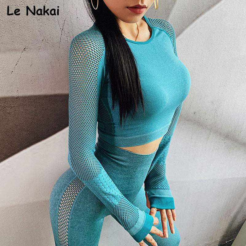 seamless yoga top shirt long sleeves workout gym crop top sport tops fitness women shirts thumb hole gym sportswear