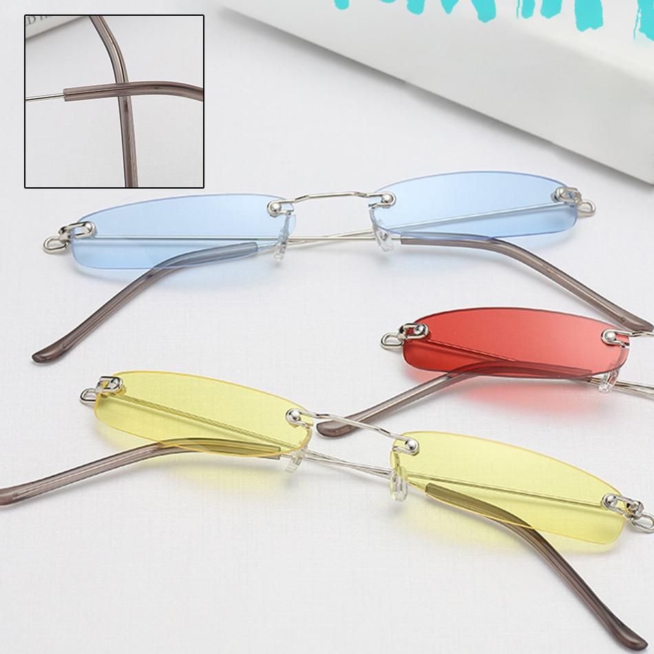 Vintage Rimless Small Narrow Rectangle Sunglasses Square Ocean Lens Glasses Vintage Cutting Lens Eyeglasses for Female UV400