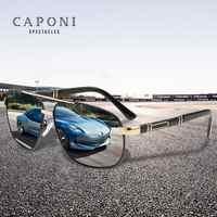 CAPONI Driving Polarized Sunglasses Men 2020 New Fashion Luxury Vintage Sun Glasses For Men Square Anti Ray Black Shades CP0960