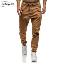 Siteweie dos homens hip hop sweatpants moda carga calças de streetwear japonês esportes casuais algodão calças masculinas calças marrons l492