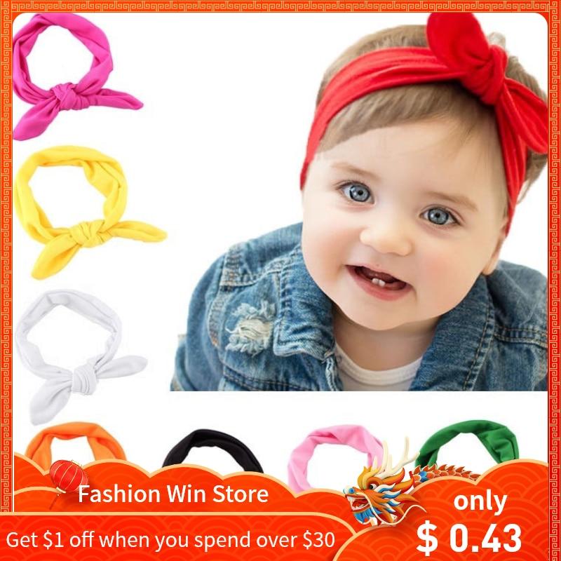 Baby Girl Toddler Dot Bow Headwear Hair Band Accessories Waved Turban Headband