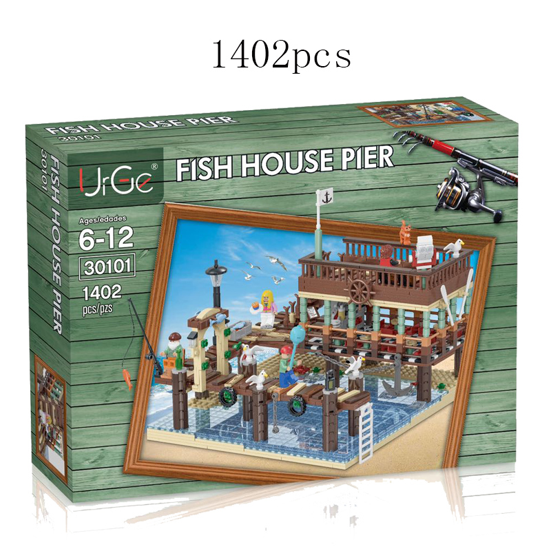 IDEAS MOC Series Fisherman's Wharf The Dock And Old Fishing Store Compatible LegoingLYs 21310 Building Blocks For Kids Gift