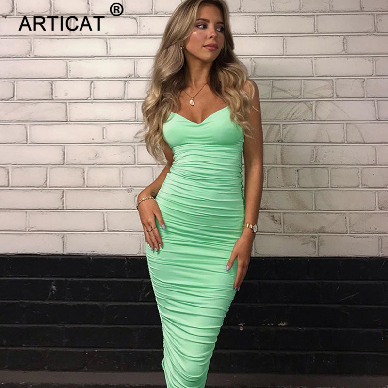 Articat Double Layers Sexy Long Party Dress Women 2019 Spaghetti Strap Lace Up Backless Summer Dress Elegant Ruched Maxi Dress