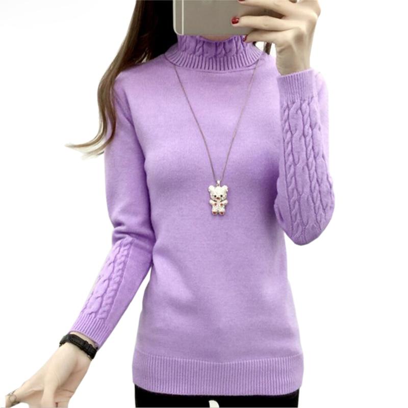 Automne hiver solide cachemire pull femmes tricoté à manches longues col roulé chandails femmes Slim Fit base pulls 2020