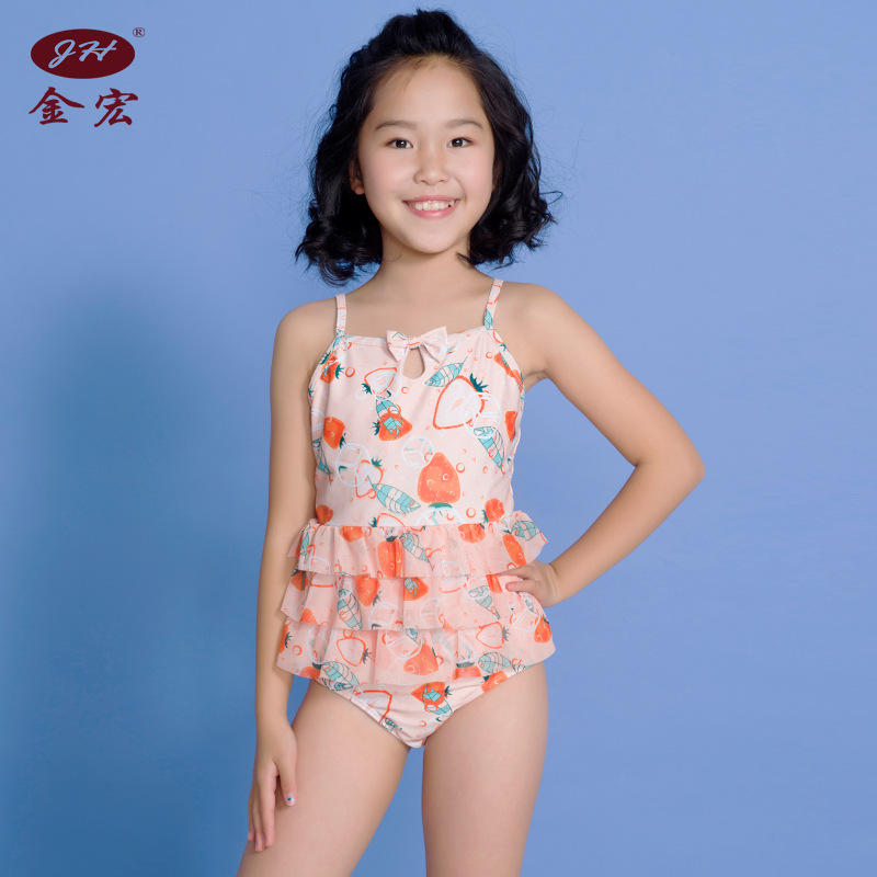 JH Brand 2019 New Products Girls One-piece Triangular Cute Sweet Swimsuit GIRL'S