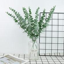 Feuilles d'eucalyptus artificielles en plastique, 5 pièces, fleur pour mariage, Bouquet de fleurs, décoration de la maison, Simulation de plante verte