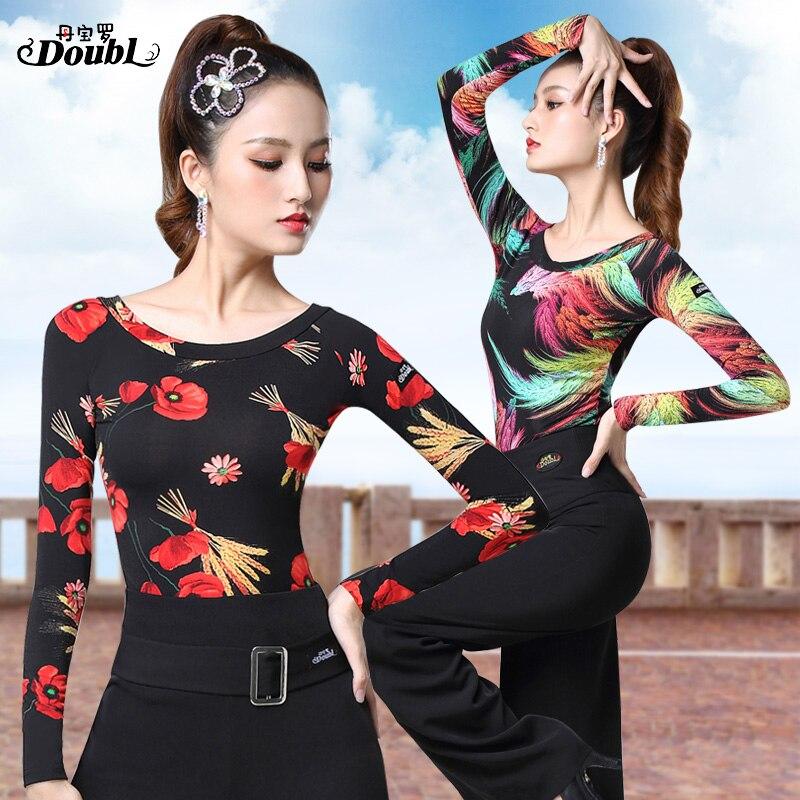 Doubl Vogue Women's Latin Dancing Tops Wear Printing Female Adults 2019 New Ballroom Dance Half Sleeve Standard Practice Chacha