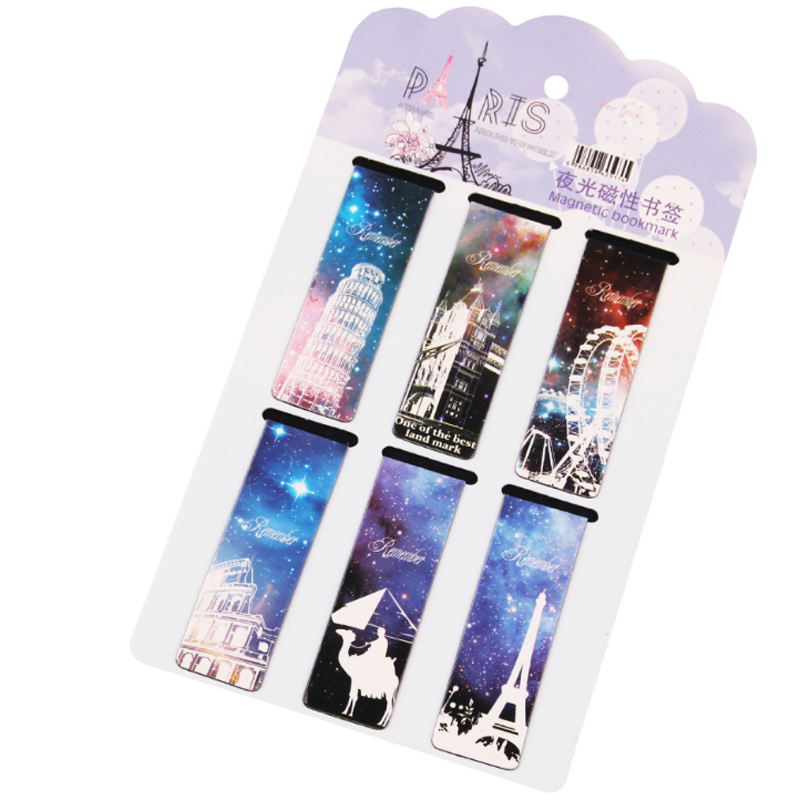 6 Pcs/lot New Tower Paper Bookmarks Creative Kawaii Magnetic Book Marks School Supplies Stationery