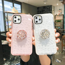 Glitter diamante anel titular claro silicone caso de telefone para o iphone 12 pro max 7 8 6 s plus x xr xs para samsung s8 s9 s10 nota 10 8