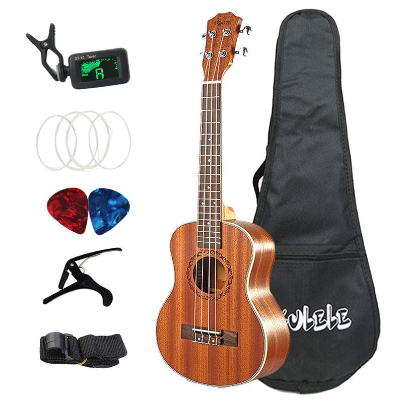 26 Inch Ukulele Set 19 Fret Tenor Mahogany Wood Ukulele Acoustic Cutaway Guitar Rosewood Fingerboard Metal Pegs Hawaii 4 String