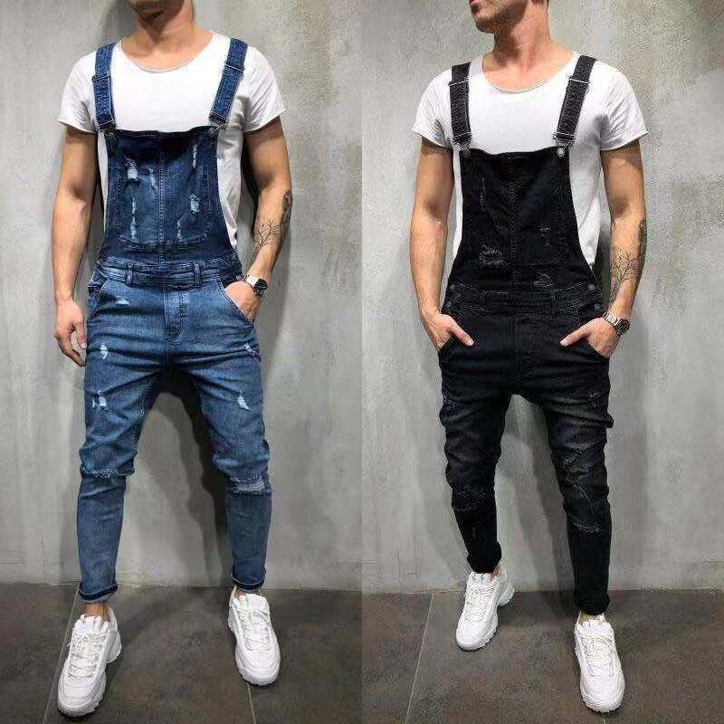 Men's Ripped Jeans Suspender Trousers Jumpsuits Hi-Street Distressed Skinny Denim Pencil Pants Bib Overalls For Man Large Size