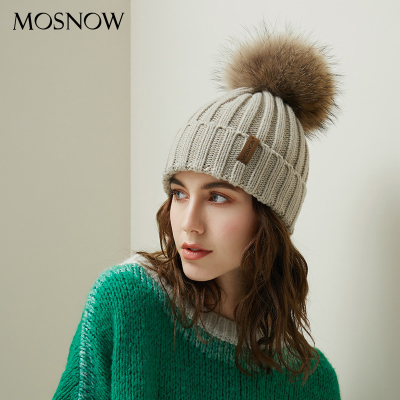 Pom Poms   Beanies   Winter Hat Female For Women Knitted Cotton Thick Real Raccoon Fur Cap 2019 New Fashion Warm   Beanie   Hot Selling