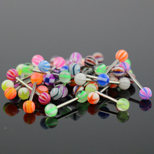 50pcs/Set Colorful Ball Barbell Tongue Button Ring Bar Women Surgical Piercing Sexy Body Jewelry Stainless Steel Navel