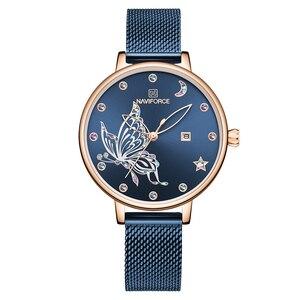 Image 5 - NAVIFORCE женские часы люксовый бренд reloj бабочка часы Модные Кварцевые женские сетки из нержавеющей стали водонепроницаемый подарок reloj muje