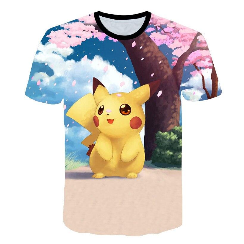 New Arrival Pikachu Cherry Print Kids T Shirt Funny Kawaii Cartoon Girl Top Harajuku White Round Neck Short Sleeves Boys Tshirt