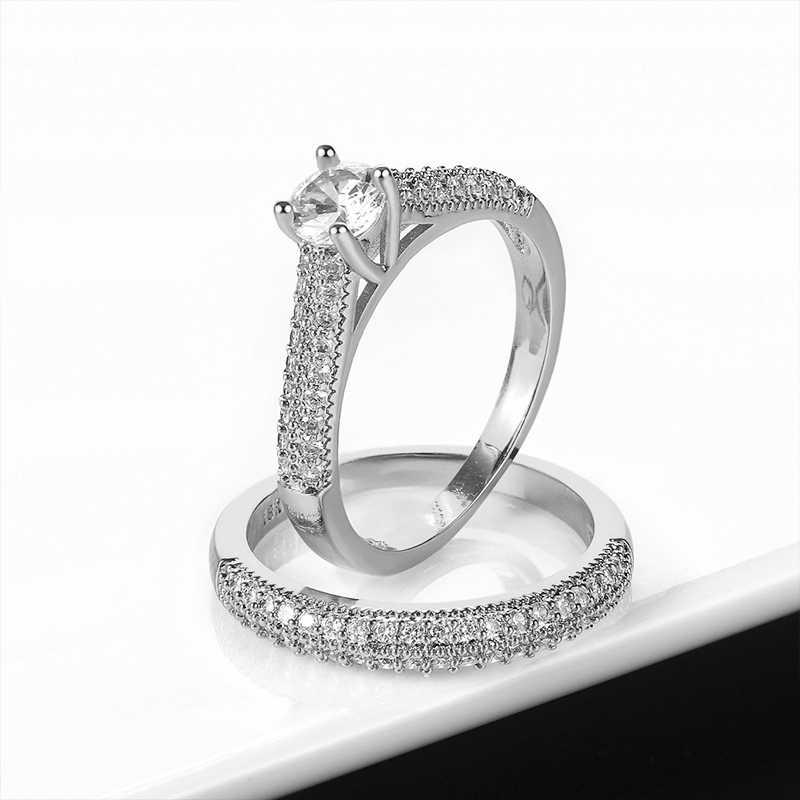 Роскошные простые классические женские большой циркон кольца для женщин романтические ювелирные украшения в подарок на день Святого Валентина Модные Свадебные обручальные кольца
