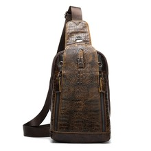 AUAU-Men Vintage Leather Shoulder Messenger Bag First Layer Cowhide Crocodile Grain Head Sling Chest Pack Casual Bags(China)