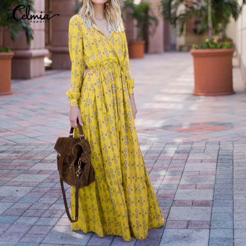 Bohemian Print <font><b>Long</b></font> <font><b>Dress</b></font> 2020 Celmia Women <font><b>Elegant</b></font> <font><b>Sexy</b></font> V neck <font><b>Long</b></font> Sleeve Maxi <font><b>Dresses</b></font> Lady Pleated Party Holiday Vestidos 5XL image