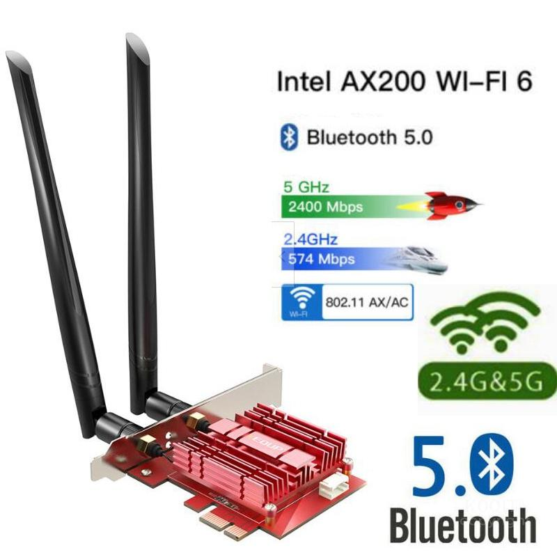 Dual Band 3000Mbps Wireless PCI-E Wifi Adapter For Desktop PC With Intel Wi-Fi 6 <font><b>AX200</b></font> Bluetooth 5.0 802.11ax/ac 2.4G/5G Card image